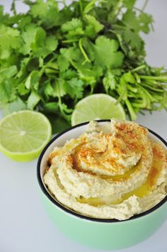 Lime Cilantro Hummus Recipe with Tahini and Cumin. Easy to make, vegan, and gluten free hummus dip recipe that uses fresh lime juice and Cilantro leaves.