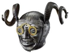 We did get to see this years ago along with many other amazing helmets. One of those reality is stranger than fiction pieces.    Horned Helmet, by Konrad Seusenhofer, 1511-1514, made for Henry VIII. More info: http://twonerdyhistorygirls.blogspot.com/2011/08/horned-helmet-of-henry-viii-1514.html