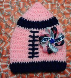 6be92f37c96a0 Pink and Navy version of Dallas Cowboys football hat - newborn