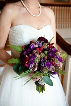 Glamorous Bridal Bouquet In A Color Palette Of Dark Jewel Tones
