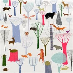 woodland, animals, winter, snow, trees