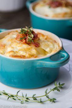 goat cheese potato gratin with crispy pancetta and a balsamic glaze