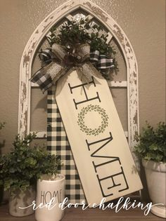 Chalk Couture, Welcome to our zHome Sign, Tag Boards, Buffalo Plaid, Farmhouse Chalk Crafts, Wooden Crafts, Decor Crafts, Home Crafts, Home Decor, Handmade Home, Wood Tags, Diy Wood Signs, Dollar Tree Crafts