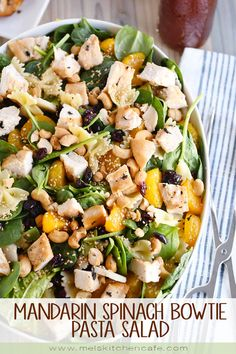 The perfect side dish OR main dish, this mandarin spinach bowtie pasta salad with teriyaki dressing is so light and refreshing…and that dressing is amazing! Pasta Salad For Kids, Pasta Salad Recipes, Seafood Recipes, Chicken Recipes, Dinner Recipes, Cafe Recipes, Pasta Food, Orzo, Food Dishes