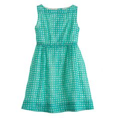 J Crew Girls' organdy grid-dot dress in chrome green (teal). Perfect for summer pictures.