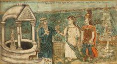 «Ο Οδυσσέας φέρων την Ιφιγένειαν θυγατέρα του Αγαμέμνονος εις τον ιερέα Κάλχα» του Θεόφιλου Χατζημιχαήλ. Greek Art, Folk, History, Illustration, Cute, Painting, Character, Google, Historia