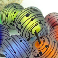 PIKALDA Handmade Lampwork 10 Glass Beads Line Colorful WHIRL2 SRA | eBay