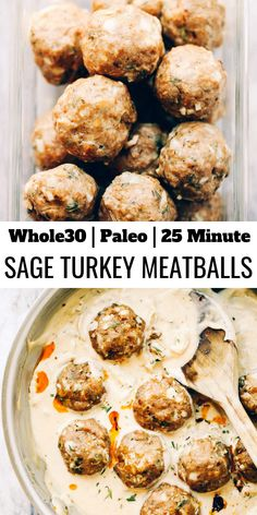 Unbelievably easy oven baked Paleo turkey meatballs and sage cream sauce. Unbelievably easy oven baked Paleo turkey meatballs and sage cream sauce. Venison Sausage Recipes, Oxtail Recipes, Meatball Recipes, Paleo Whole 30, Whole 30 Recipes, Whole Foods, Paleo Turkey Meatballs, Sausage Meatballs, Turkey Sausage