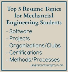 Top 5 Resume topics for Mechanical Engineering students