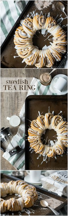 This Swedish tea ring has such a gorgeous presentation, and it's deceptively simple to create. Soft, sweet yeast dough swirled with cinnamon sugar and drizzled with a sweet glaze. Sort of like a pull-apart cinnamon roll bread. food breakfast cinnamon rolls #ad @whitelilyflour via @bakingamoment
