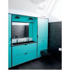 Turquoise bathroom / Turkis badeværelse  #design #snedkeri #indretning #interiordesign #bolig #boligindretning #decoration #butiksindretning #cabinet #rum4 #karstenk #lullofflillelund #coolstuff #interior #handmade #custommade #living #nordicliving #wood #woodwork #boliginspiration #håndlavet #cabinetmaking #shopinterior #bathroom #bathroomdesign #bathroomdesign #ideas #formica #vernerpanton #badeværelse by rum4_karstenk