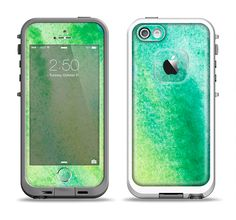 The Vibrant Green Watercolor Panel Apple iPhone 5-5s LifeProof Fre Case Skin Set