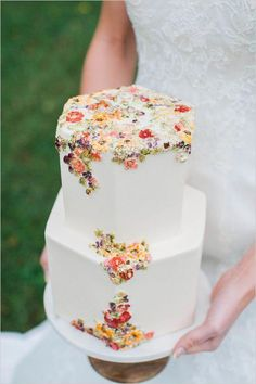 If you're dreaming of a magical garden spring wedding, filled with pastel and br. If you're dreaming of a magical garden spring wedding, filled with pastel and bright flowers, wit Summer Wedding Cakes, Floral Wedding Cakes, Elegant Wedding Cakes, Floral Cake, Wedding Cake Designs, Hexagon Wedding Cake, Elegant Cakes, Lace Wedding, Purple Wedding