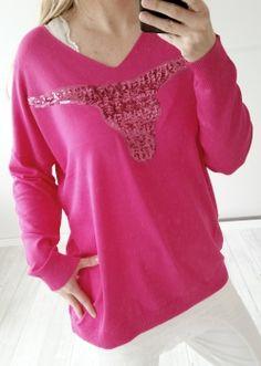 Oversize Stier Pailletten Pullover in pink von Via Code Stier Gr.38-42