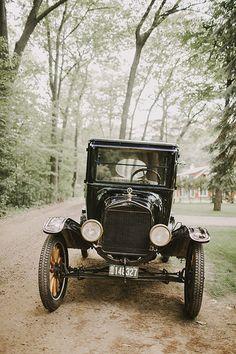 Vintage-Chic Farm Wedding in Michigan, Vintage 1922 Model T Car | Brides.com