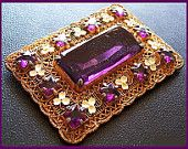 "Edwardian Rhinestone Brooch Pin Purple Glass & White Enamel Flowers Gold Metal 2.5"" VG"