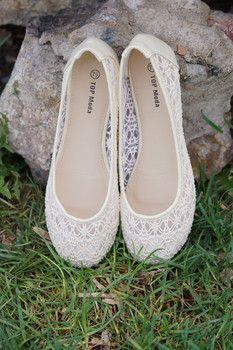 Ivory Lace Flat Shoes - Wedding Diary