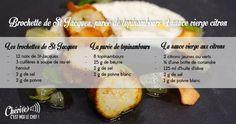 chéri(e), c'est moi le chef - RECETTE DU 8/05/17 : Brochette de St Jacques, purée de topinambours et sauce vierge au citron