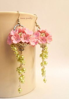 #Pink #earrings  Flower basket  Pink flowers  by insoujewelry
