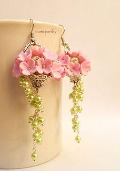 Orecchini Sposa orecchini rosa orecchini fiore di insoujewelry