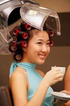 Tumblr Updo Styles, Curly Hair Styles, Asian Perm, Best Affordable Hair Dryer, Hair Dryer Brands, Sleep In Hair Rollers, Using A Curling Wand, Air Dry Hair, Roller Set