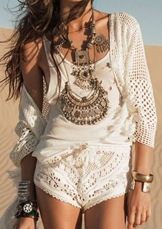 Ethnic tribal gypsy coin chunky layered necklaces, boho chic top with modern hippie crochet shorts. love the styles at this site