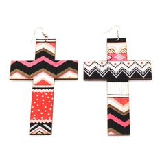 Mismatched printed cross earrings, LOVE! Just $3.80