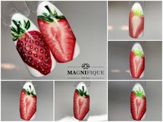 Truskawka strawberry Nails step by step Tutorial fruit nail painting