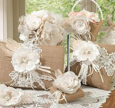 Burlap & Lace Collection by Lillian Rose for your rustic theme wedding. Burlap & Lace Wedding Accessories include a guest book, pen set, flower basket, ring pillow, favor bags and more. Wedding Sets, Wedding Themes, Chic Wedding, Wedding Favors, Wedding Decorations, Wedding Cakes, Wedding Ceremony, Wedding Burlap, Wedding Unique