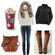 A Cozy Cream Knit Sweater with a Plaid Scarf, Dark Jeans, a Brown Bag and Boots, Completed with Maroon Leg Warmers
