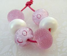 Lampwork Glass Beads Pink n Whites UK by GlitteringprizeGlass, £12.50