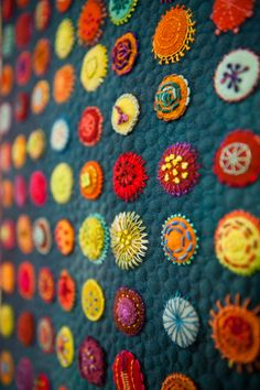I love the bright colored fabric and thread, the gorgeous and varied stitches are artwork on their own!! Must make this! (sue spargo) Colors Embroidery Textiles, Folk Art, Pennies Rugs, Materials Obsession, Felt Embroidery, Sue Spargo, Dr. Suess, Embroidered Quilts, Fabrics Art