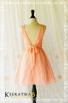 A Party V Charming Dress Peachy Pink Roses par LovelyMelodyClothing