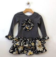 Girls Printed Ruffle Dress with Flower Applique