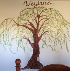 Weeping Willow Tree Hand Painted On Wall