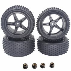 4Pcs Rubber 1/10 Buggy Tires Front / Rear Insert Sponge & Wheel Hex 12mm For RC 1/10 Buggy Warhead Model Car 2WD 4WD