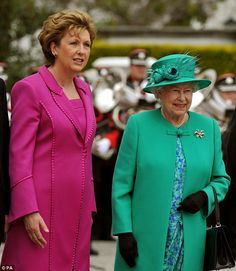 Her Majesty is greeted by the Irish President Mary McAleese after arriving at her official residence Áras an Uachtaráin in Dublin, Ireland in May 2011