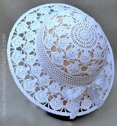Diy Crafts - Precioso Sombrero Tejido A - Diy Crafts Crochet Hat With Brim, Crochet Summer Hats, Crochet Hat For Women, Crochet Baby Hats, Free Crochet, Crochet Skirt Pattern, Crochet Poncho, Baby Knitting Patterns, Crochet Patterns