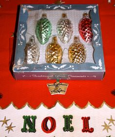 SOLD! Vintage box of glass pinecone Christmas ornaments by poetsy, $8.00
