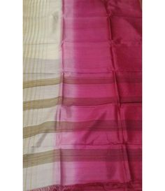 Pink and White Handloom Tussar Raw Silk Saree