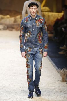 Dolce & Gabbana | Menswear - Autumn 2016 | Look 43 - print on denim - embroidery