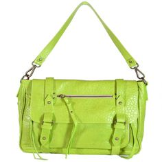 Look at this color! Now that's bringing a little bit of summer into your wardrobe. It's a great Italian Leather handbag from Moni Moni. It's her Monique Messenger bag in apple green.