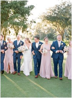 Jackie & Will: A Lake Nona Country Club Wedding - The Ganeys Groom And Groomsmen Attire, Bridesmaids And Groomsmen, Wedding Bridesmaids, Blue Groomsmen Suits, Blue Tuxedo Wedding, Dusty Rose Wedding, Navy Blue Suits Wedding, Navy Bridal Parties, Blue Bridal