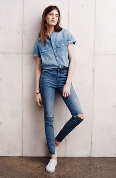 Spring Outfits Women, Spring Fashion Outfits, Denim Fashion, Fall Outfits, Casual Outfits, Women's Fashion, Fashion Trends, Denim On Denim Looks, Denim Style
