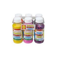 Seis colores lavables empacados en botellas de 4 oz: rosa, púrpura, naranja, amarillo, brillo de plata y confeti. ¡Diseñado por ALEX Toys!