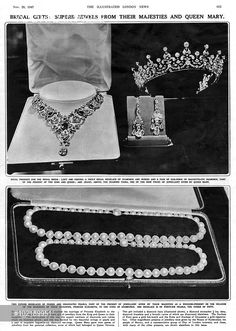 Superb jewels presented to Princess Elizabeth on the occasion of her marriage ot Lieutenant Philip Mountbatten on 20 November 1947. The top photograph shows a regal necklace of diamonds and rubies and a pair of earrings of baguette cut diamonds from King George VI and Queen Elizabeth, and a diamond tiara, one of nine pieces of jewellery given by Queen Mary. The pearl necklaces below of picked and graduated pearls form another part of the present from the King and Queen.