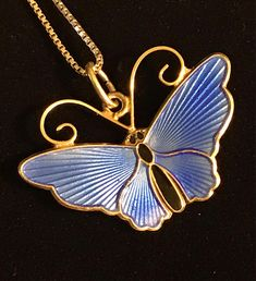 David Andersen-Norway-Beautiful Blue Butterfly Necklace
