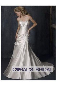 Pleated Slim A line satin wedding dress