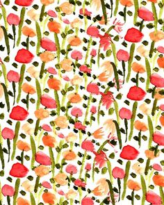 Field of painted #flowers. #pattern #illustration