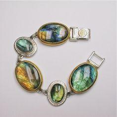 Sterling Silver layered with 24K Gold, Labradorite Cabochon Bracelet by GURHAN